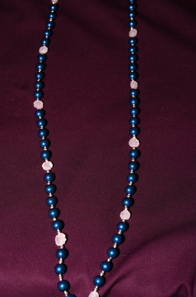 Long view of the teal and rose quartz necklace I made